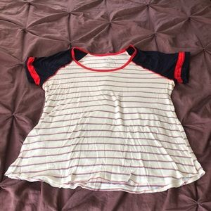 Red, white, and blue baseball tee